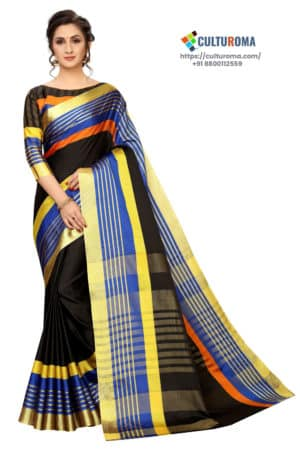 Poly Cotton - Pure Catonic Cotton Saree with Lining Pallu in Yellow & Orange