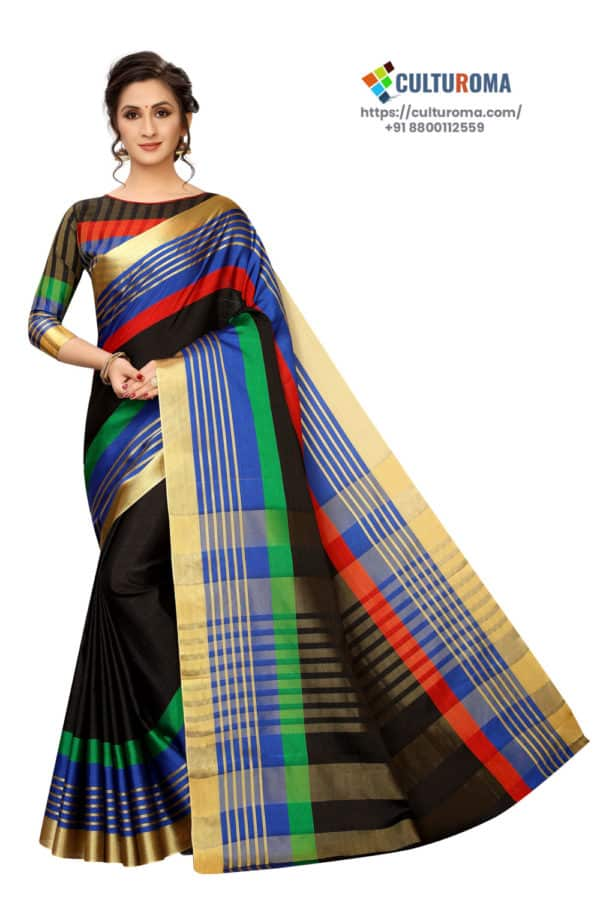 Poly Cotton - Pure Catonic Cotton Saree with Lining Pallu in Green & Red