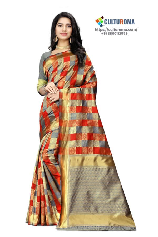 JACQUARD Silk - Saree With rich Pallu And Running Matching Blouse in Red and Golden