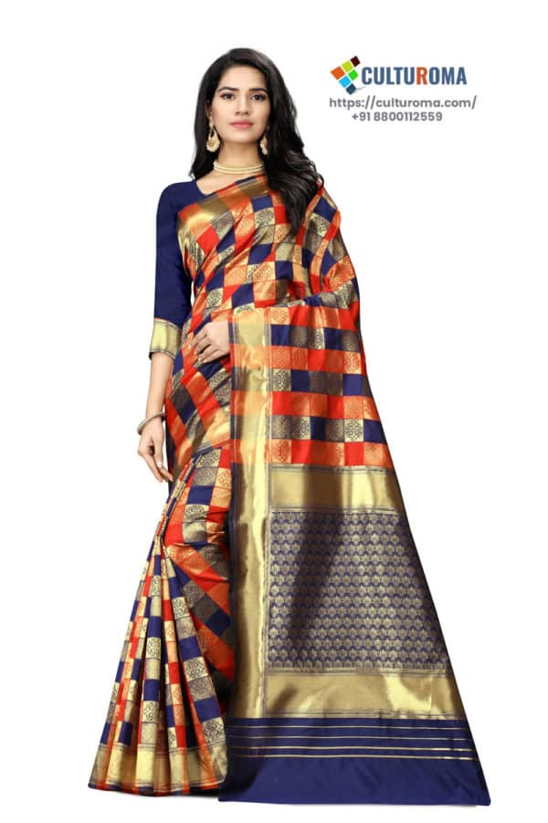 JACQUARD Silk - Saree With rich Pallu And Running Matching Blouse in Red and Blue