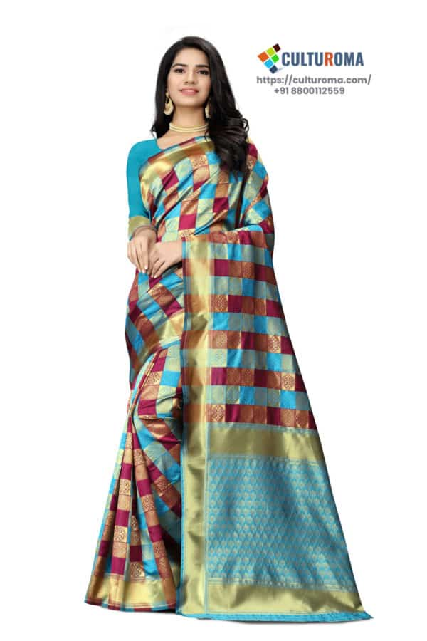 JACQUARD Silk - Saree With rich Pallu And Running Matching Blouse in Cyan and Maroon