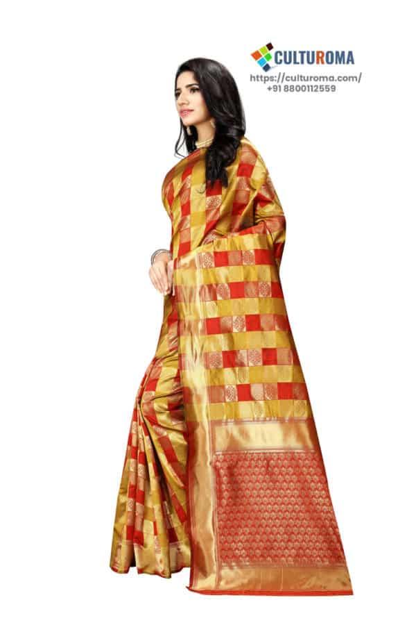 JACQUARD Silk Saree With rich Pallu And Running Matching Blouse