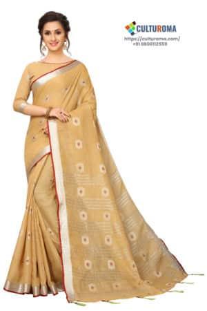 Linen Cotton - Contrast Pallu With Zari Butta With All Over Silver Zari Jecard Bottom Border in Cream