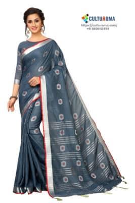 Linen Cotton - Contrast Pallu With Zari Butta With All Over Silver Zari Jecard Bottom Border in Grey