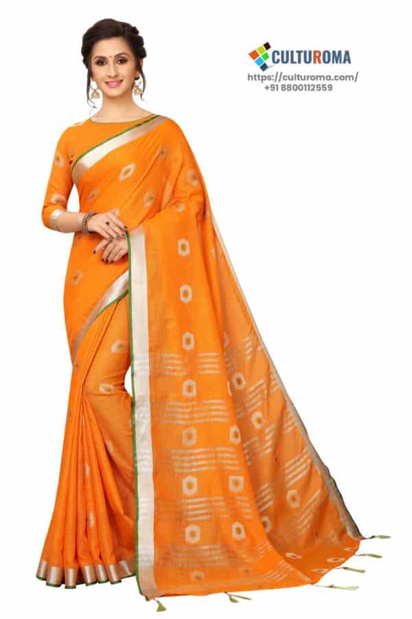 Linen Cotton - Contrast Pallu With Zari Butta With All Over Silver Zari Jecard Bottom Border in Orange