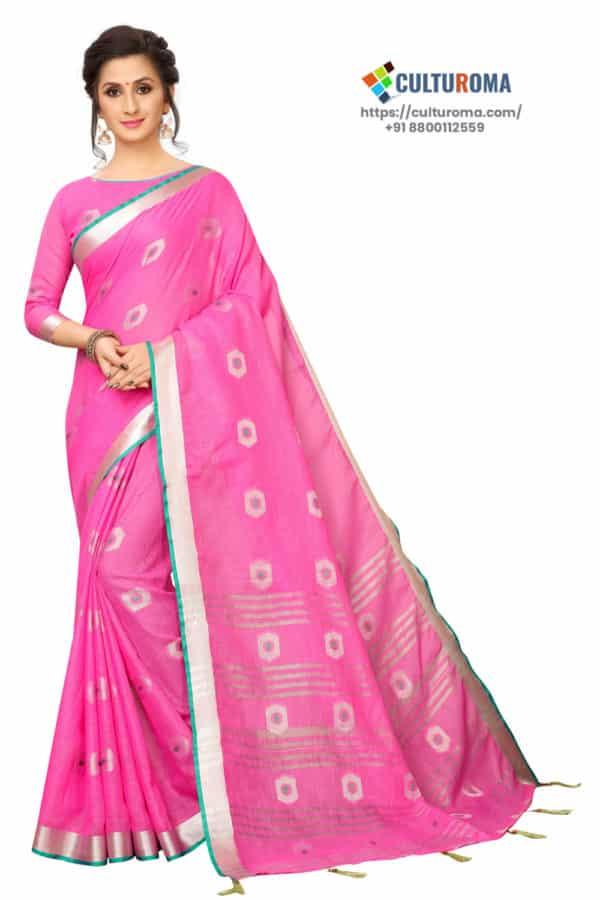Linen Cotton - Contrast Pallu With Zari Butta With All Over Silver Zari Jecard Bottom Border in Pink