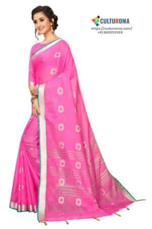 Pure Linen Cotton Contrast Pallu With Zari Butta With All Over Silver Zari Jecard Bottom Border