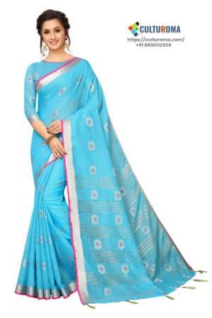 Linen Cotton - Contrast Pallu With Zari Butta With All Over Silver Zari Jecard Bottom Border in Sky Blue