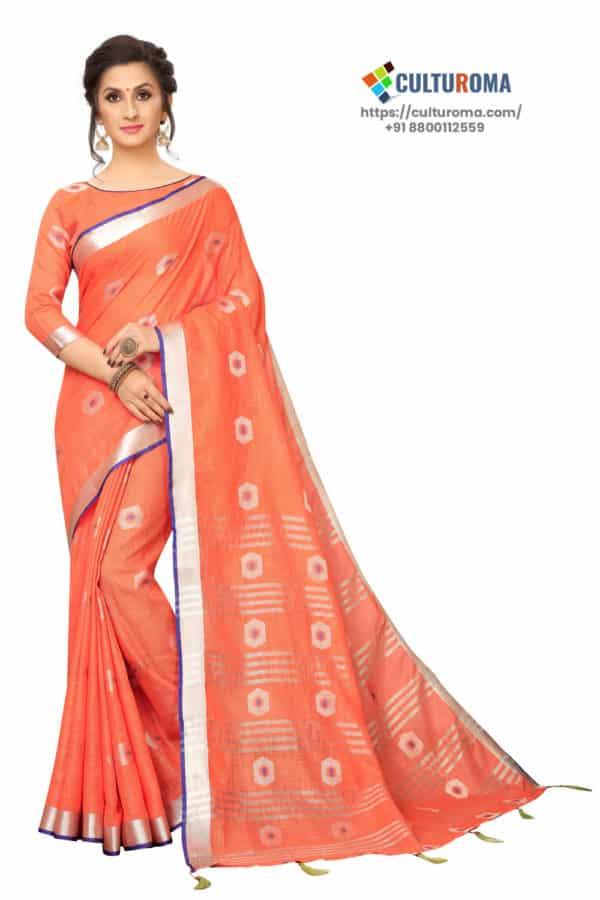 Linen Cotton - Contrast Pallu With Zari Butta With All Over Silver Zari Jecard Bottom Border in Peach