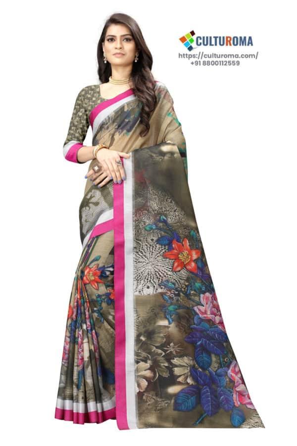 Linen Cotton - Gorgeous Sharee in Magenta