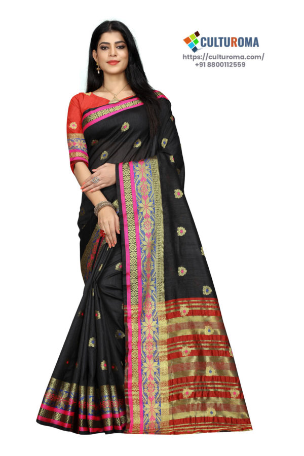 Cotton - South Cotton Contrast Pallu Contrast Matching Blouse With Jecard Buta in Black