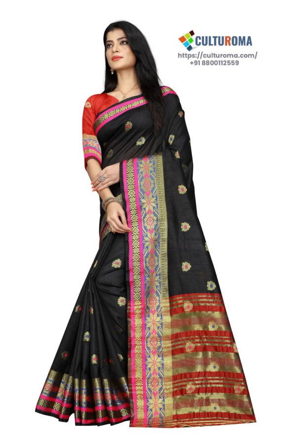 South Cotton Contrast Pallu Contrast Matching Blouse With Jecard Buta