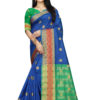 Cotton - South Cotton Contrast Pallu Contrast Matching Blouse With Jecard Buta in Light Blue