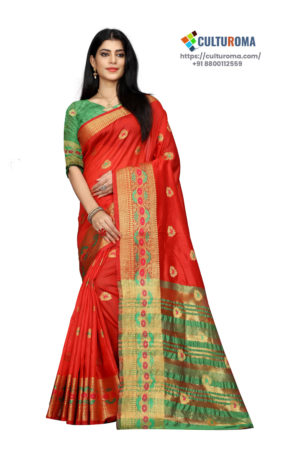 Cotton - South Cotton Contrast Pallu Contrast Matching Blouse With Jecard Buta in Gajari