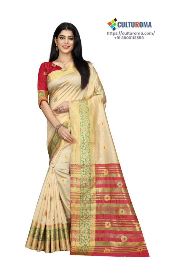 Cotton - South Cotton Contrast Pallu Contrast Matching Blouse With Jecard Buta in Cream