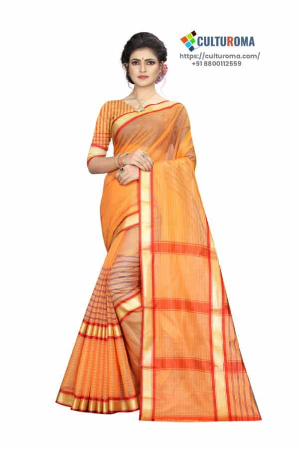 Linen Cotton - Checks Plain Orange