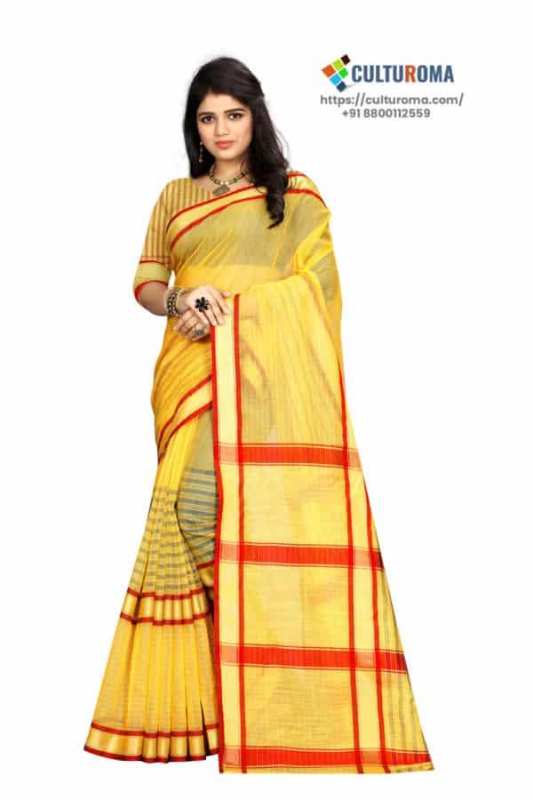 Linen Cotton - Checks Plain Yellow