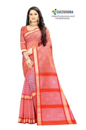 Linen Cotton - Unique Bandhni Print & Dimoand Bord Pink