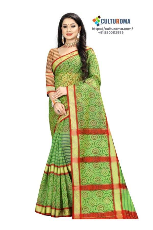 Linen Cotton - Unique Bandhni Print & Dimoand Bord Green