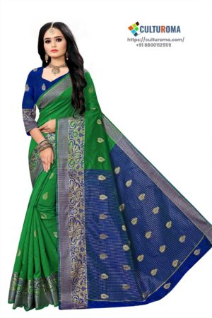 Banarasi Lichi Silk - GREEN Rich Border and gold jari buti all over with Blue Pallu