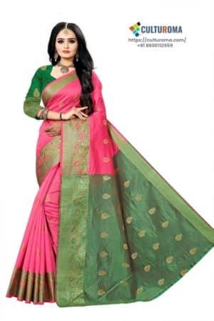 Banarasi Lichi Silk - DEEP PINK Rich Border and gold jari buti all over with Green Pallu