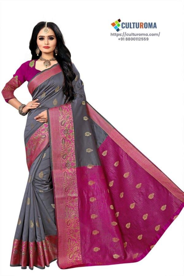 Banarasi Lichi Silk - GRAY Rich Border and gold jari buti all over with Pink Pallu