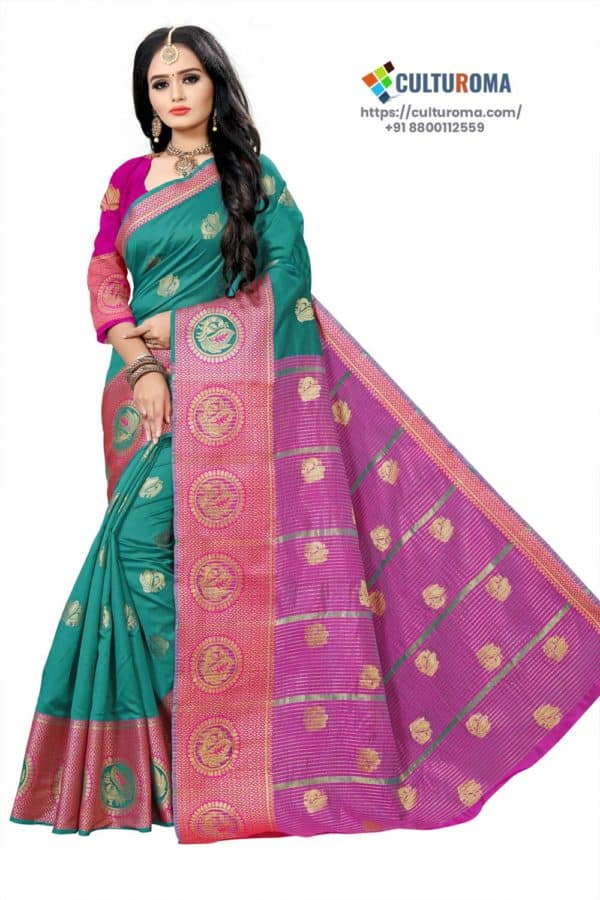 Banarasi Lichi Silk - Rich Border and gold jari buti all over with Pink Pallu
