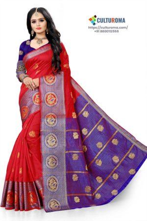 Banarasi Lichi Silk - RED Rich Border and gold jari buti all over with Purple Pallu