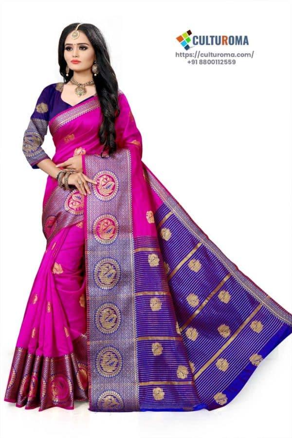 Banarasi Lichi Silk - HOT PINK Rich Border and gold jari buti all over with Purple Pallu
