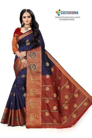Banarasi Lichi Silk - NAVY BLUE Rich Border and gold jari buti all over with Maroon Pallu
