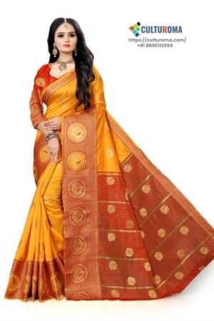 Banarasi Lichi Silk - YELLOW Rich Border and gold jari buti all over with Red Pallu