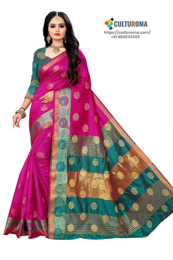 Banarasi Lichi Silk - HOT PINK Rich Border and gold jari buti all over with Rama Green Pallu