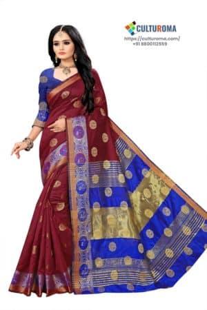 Banarasi Lichi Silk - Maroon Rich Border and gold jari buti all over with Blue Pallu