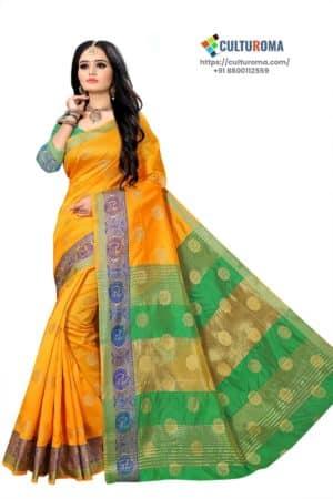 Banarasi Lichi Silk - Rich Border and gold jari buti all over with Green Pallu