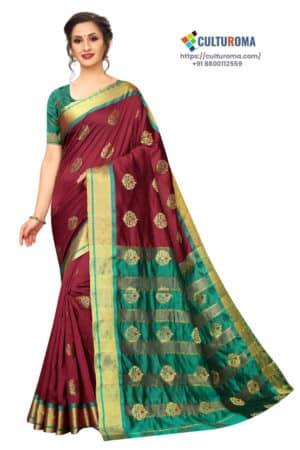 BANARASI SILK - Pure Banarasi Silk Contrast Pallu Contrast Blouse MAROON