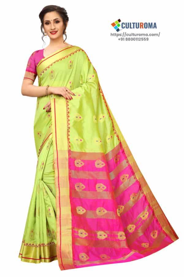 BANARASI SILK - Pure Banarasi Silk Contrast Pallu Contrast Blouse YELLOW