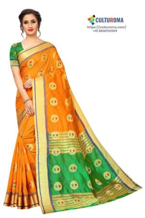BANARASI SILK - Pure Banarasi Silk Contrast Pallu Contrast Blouse ORANGE