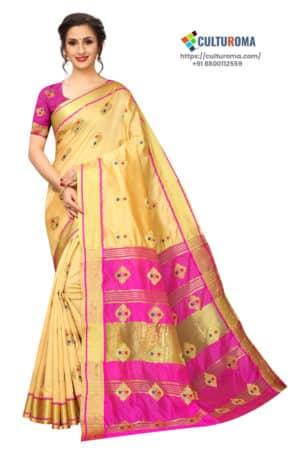 BANARASI SILK - Pure Banarasi Silk Contrast Pallu Contrast Blouse LEMON