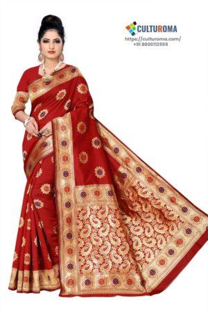 BANARASI LICHI SILK - rich border and unique multi gold jari buta all over gorgeous pallu RED