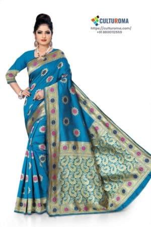 BANARASI LICHI SILK - rich border and unique-multi gold jari buta all over, gorgeous pallu BLUE