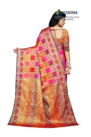 ERI SILK Saree With Contrast Pallu And Contrast Matching Blouse