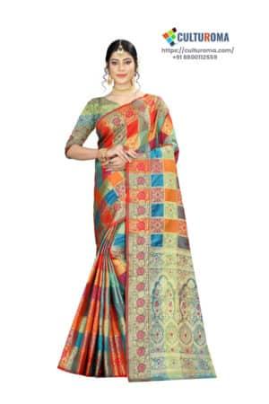 ERI SILK - Saree With Contrast Pallu And Contrast Matching Blouse
