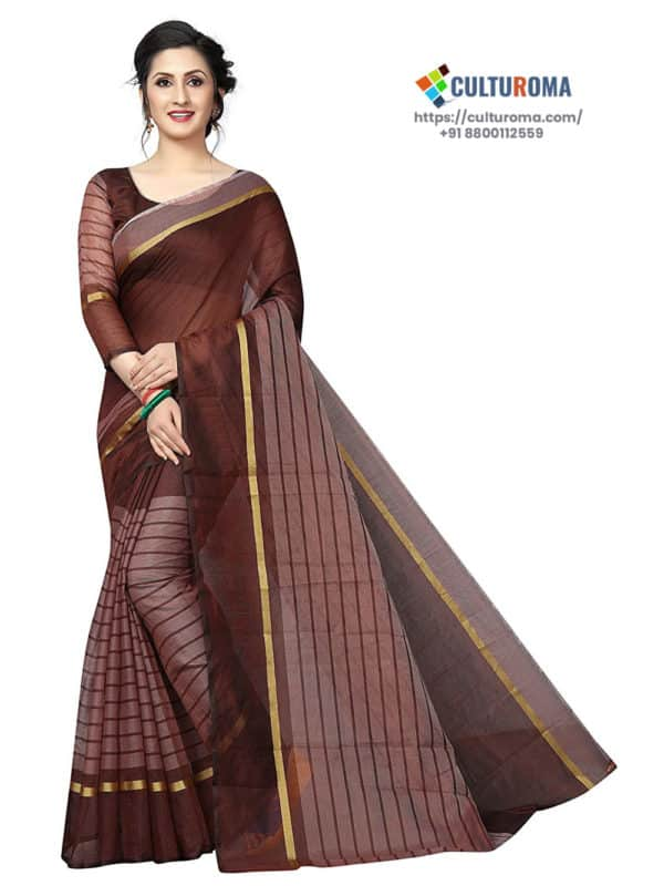 POLY COTTON - Saree in COFFEE