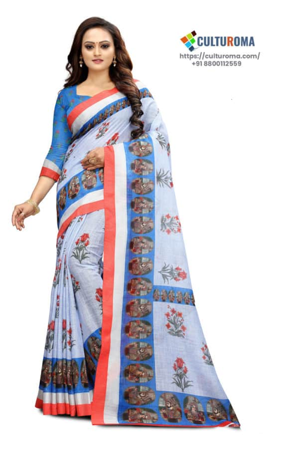 """Are you looking for exclusive sarees, Then this is the place at our website, explore and find your desired clothing items. About this Pure Linen saree Pure linen Printed Reach Pallu And Matching Blouse Fabrics: Pure linen Symbolism of Pure Linen Saree History of Sari-like drapery is traced back to the Sindh region of the Indus Valley Civilisation, which flourished during 2800–1800 BCE around the northwestern part of the Indian subcontinent, present day Pakistan.Cotton was first cultivated and woven in Indian subcontinent around 5th millennium BCE.Dyes used during this period are still in use, particularlyindigo,lac,red madderandturmericSilk was woven around 2450 BCE and 2000 BCE. The wordsarievolved fromśāṭikā(Sanskrit: शाटिका) mentioned in earliest Hindu literature as women's attireThe sari orśāṭikāevolved from a three-piece ensemble comprising theantarīya, the lower garment; theuttarīya; a veil worn over the shoulder or the head; and thestanapatta, a chestband. This ensemble is mentioned inSanskritliterature and BuddhistPali literature during the 6th century BCE.This complete three-piece dress was known asposhak, generic term for costume.Ancientantariyaclosely resembled thedhoti wrap in the """"fishtail"""" version which was passed through legs, covered the legs loosely and then flowed into a long, decorative pleats at front of the legsIt further evolved intoBhairnivasaniskirt, today known asghagriandlehenga. Uttariyawas a shawl-like veil worn over the shoulder or head, it evolved into what is known today known asdupattaandghoonghat. Likewise, thestanapaṭṭaevolved into thecholi by the 1st century CE. The ancientSanskritwork,KadambaribyBanabhattaand ancientTamilpoetry, such as theSilappadhikaram, describes women in exquisitedraperyor sari.In ancient India, although women wore saris that bared the midriff, theDharmasastra writers stated that women should be dressed such that the navel would never become visible. By which for some time the navel exposure became a taboo and"""