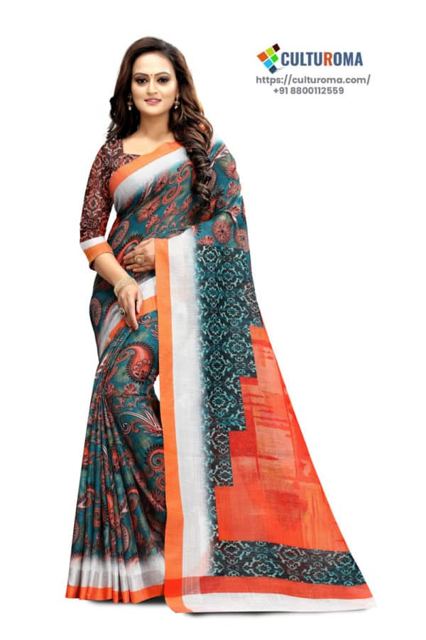 PURE LINEN - Printed Saree in RAMA GREEN