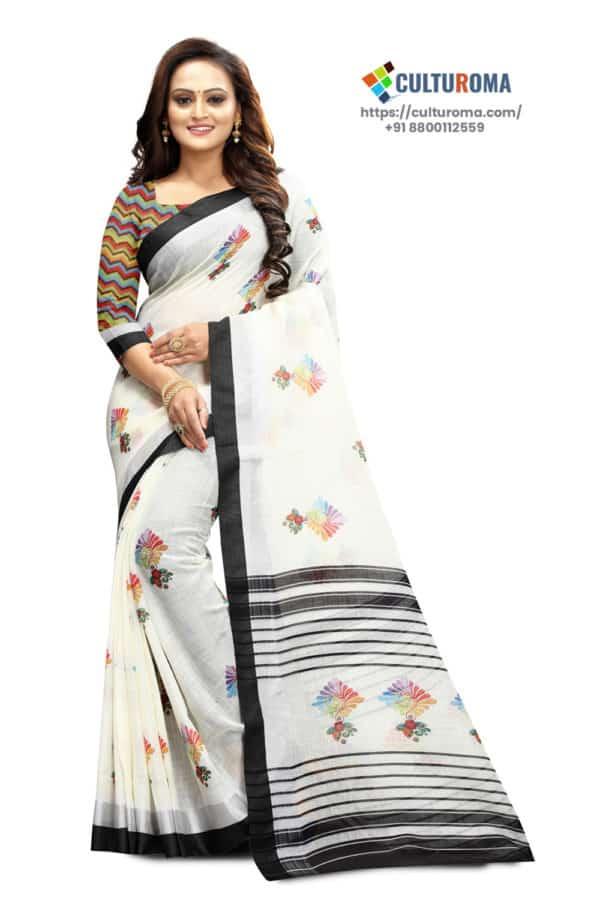 PURE LINEN - Printed Saree in WHITE