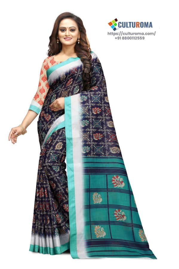 Pure LINEN - Printed Saree in NAVY BLUE