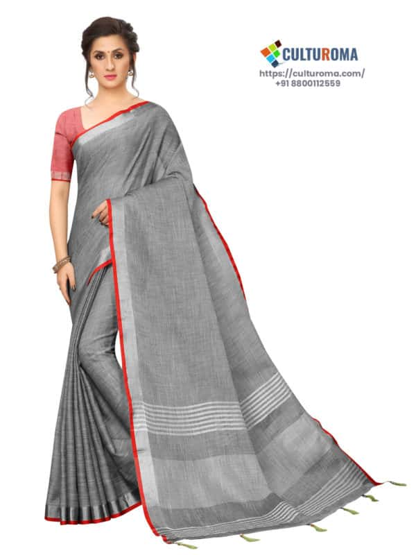 LINEN COTTON - Silver Lining Pallu And Contrast Blouse in GRAY