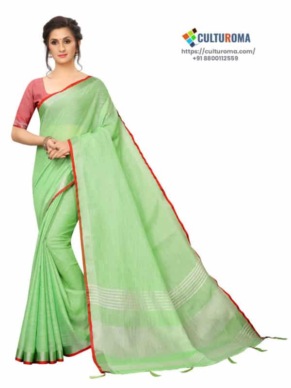 LINEN COTTON - Silver Lining Pallu And Contrast Blouse in GREEN