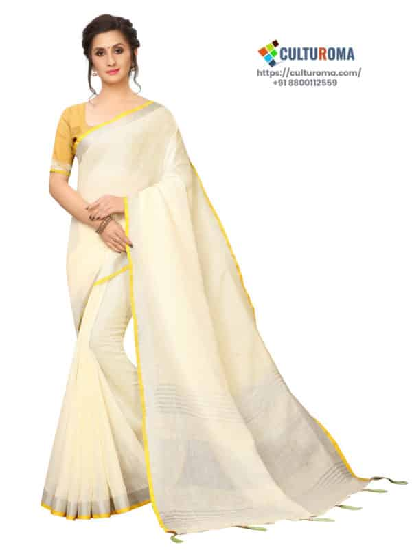 LINEN COTTON - Silver Lining Pallu And Contrast Blouse in OFF WHITE
